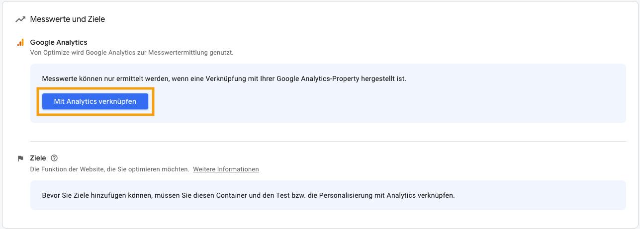 Google Optimize mit Google Analytics verknüpfen, leadgenerierung, leadgeneration, funnel, kundengewinnung, software, conversion rate, leads, marketing, fragebogen, kpi