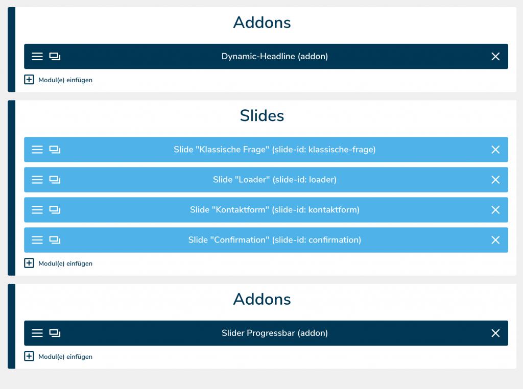Slider Überblick, leadgenerierung, leadgeneration, funnel, kundengewinnung, software, conversion rate, leads, marketing, fragebogen, kpi